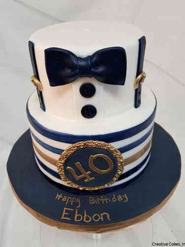 Fashion 20 Blue and Gold Tuxedo Birthday Cake