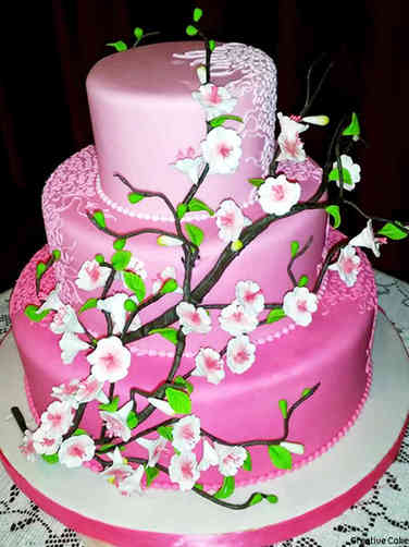 Colorful 01 Pink Ombre Cherry Blossoms Wedding Cake