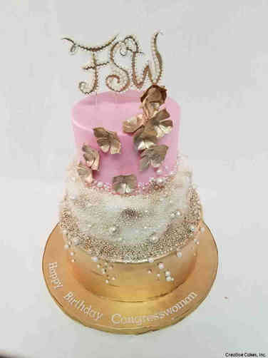 Feminine 54 Elegant Pink and Gold Birthday Cake