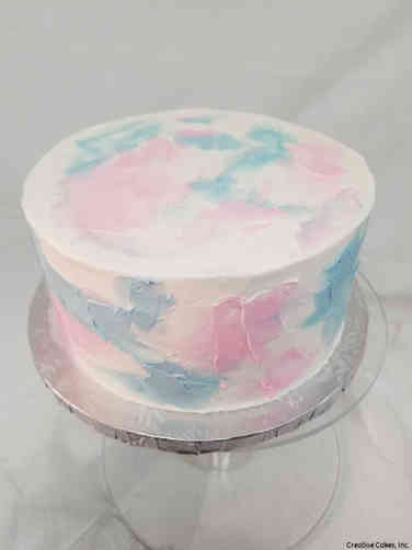Reveal 11 Watercolor Buttercream Gender Reveal Cake