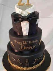 Food 35 Elegant Tuxedo and Cocktails 21st Birthday Cake