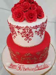 Feminine 20 Red, White, and Gold Damask Birthday Cake