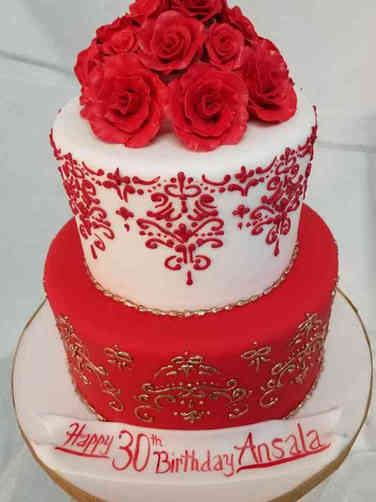 Feminine 20 Red, White, and Gold Damask Birthday Cake