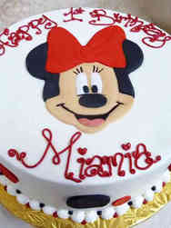 Girls 18 Minnie Mouse Face First Birthday Cake