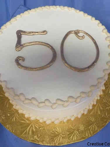 Other 16 Taupe and Gold 50th Birthday Cake