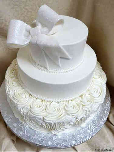 Elegant 01 Rosettes and Bow Wedding Cake