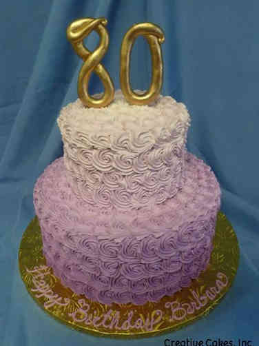 Numbers 22 Lavender Ombre Rosettes 80th Birthday Cake