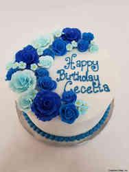 Floral 41 Beautiful Blues Birthday Cake