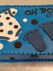 Boys 10 Onesie and Footprints Baby Shower Cake