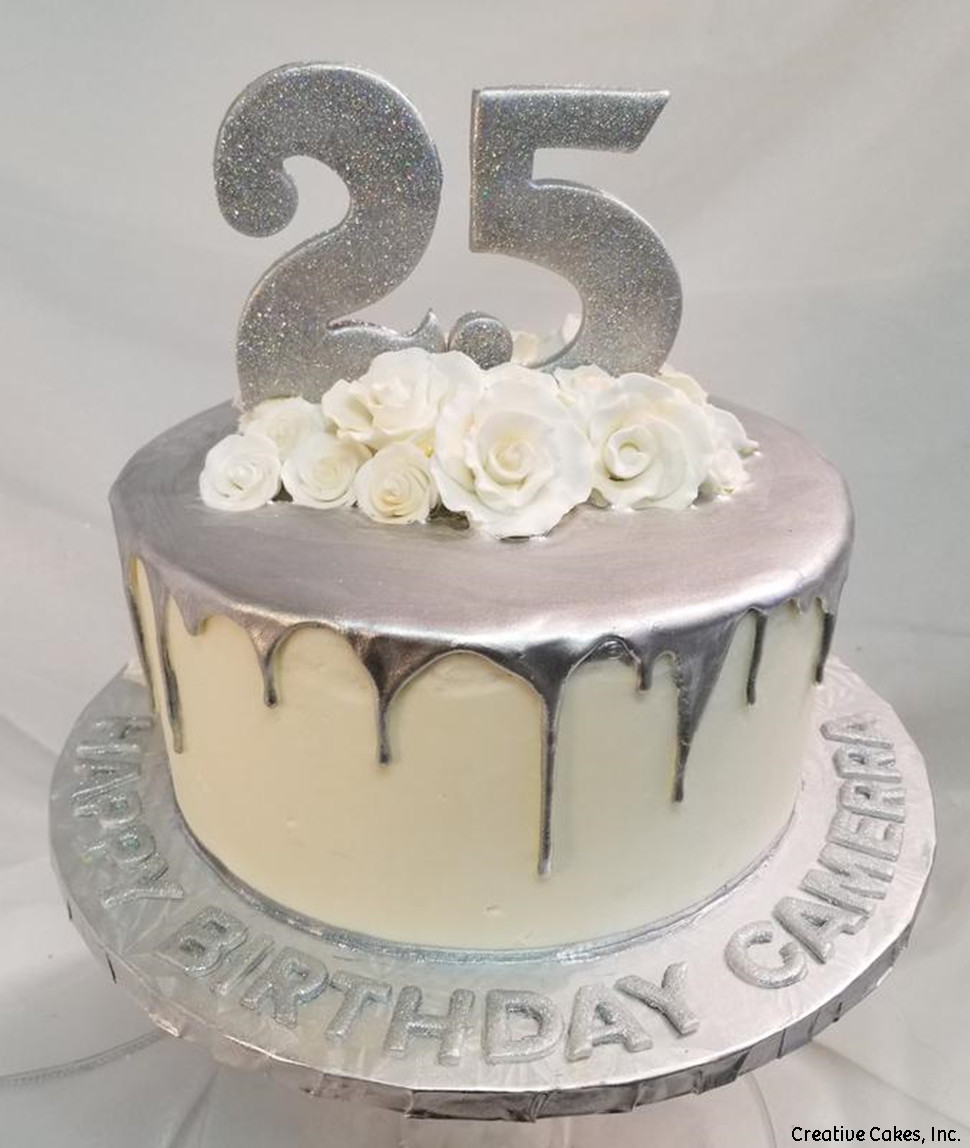 Numbers 18 Silver Drip 25th Birthday Cake