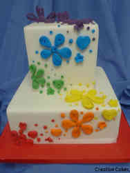 Colorful 11 Rainbow Quilled Wedding Cake