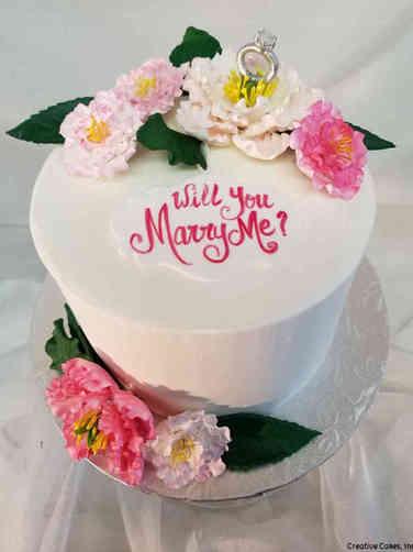Floral 15 Pink Peonies Proposal Cake