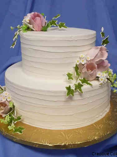 Simple 20 Spatula Stripes and Tulips Wedding Cake