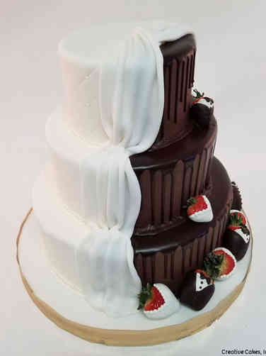 Unique 43 Half and Half Chocolate Drip Wedding Cake