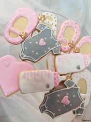 Cookies 10 Grey and Pink Baby Shower Cookies