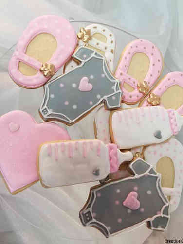 Cookies 10 Grey and Pink Baby Shower Cookies