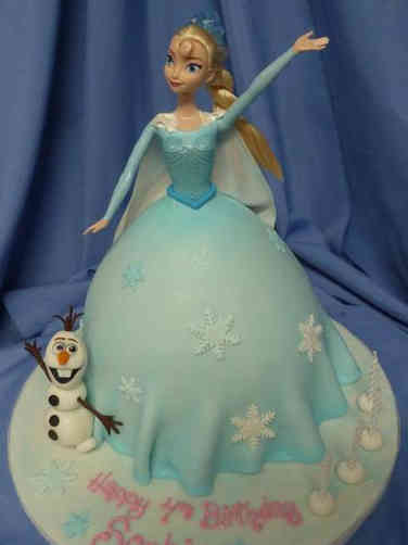 Princesses 29  Elsa and Olaf Frozen Doll Birthday Cake