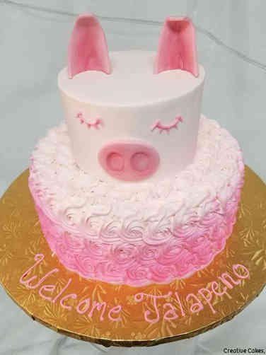 Neutral 17 Adorable Pig Baby Shower Cake