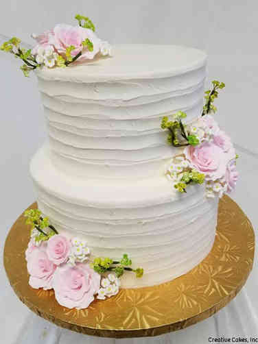 Simple 02 Pink Roses Wedding Cake
