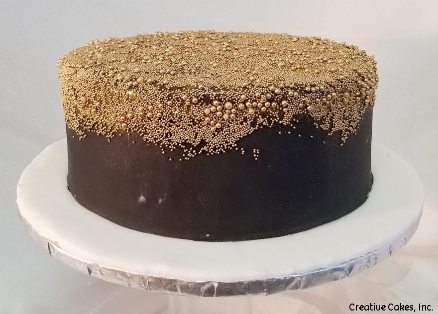 Unique 50 Black And Gold Elegant Birthday Cake