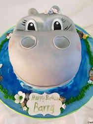 Animals 40 Happy Hippo Birthday Cake