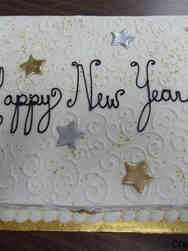 Other 09 Silver and Gold Stars and Swirls New Year Celebration Cake