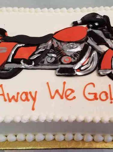 Professional 11 Harley Davidson Motorcycle Retirement Cake