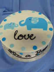 Boys 22 Mom and Baby Elephant Baby Shower Cake