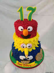 TV 29 Tiered Sesame Street Birthday Cake