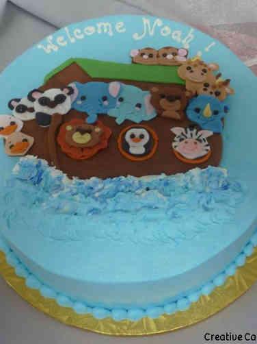 Neutral 36 Flat Art Noah's Ark Baby Shower Cake