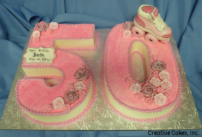 Numbers 25 Pink Sparkly Roller Skate 50th Birthday Cake