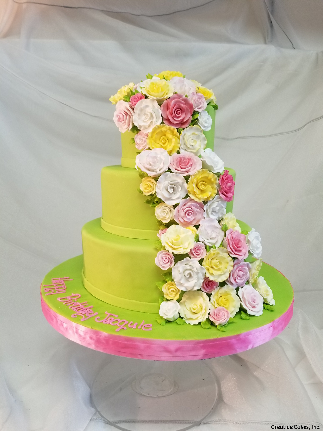 Floral 41 Lime Green Cascade Birthday Cake