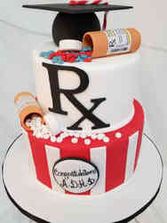 Grad School 01 Tiered Pharmacy School Graduation Cake