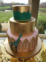 Neutral 09 Elegant Gold and Green Baby Shower Cake