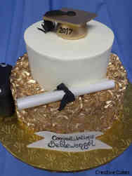 College 23 Gold Rosettes College Graduation Cake