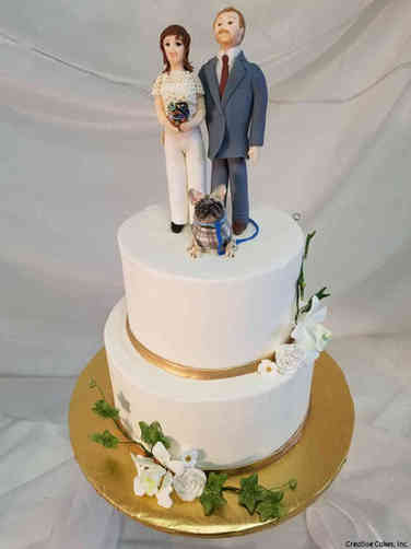 Elegant 31 Bride and Groom and Dog Wedding Cake
