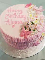 Princesses 15 Pink Ruffles and Flowers Birthday Cake
