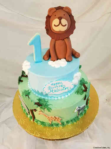 Neutral 33 Animal Safari First Birthday Cake