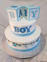 Boys 30 Blocks and Clothesline Baby Shower Cake