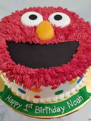 Neutral 17 Elmo Face First Birthday Cake