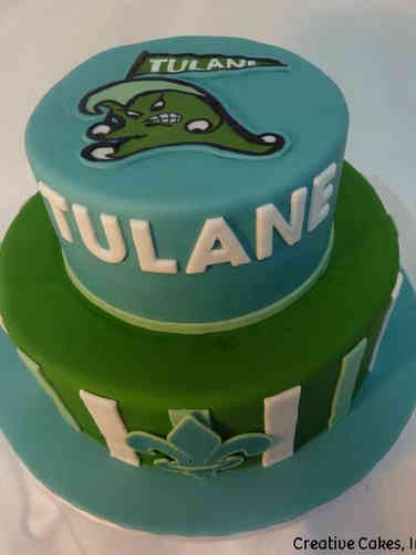 College 31 Blue and Green Tulane University College Graduation Cake