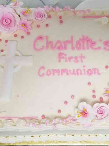 Communion 02 Pink and White First Communion Cake