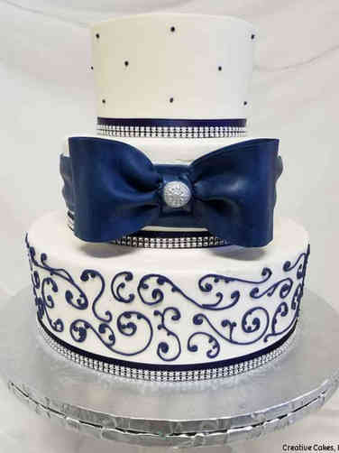 Elegant 08 Navy Bow Wedding Cake