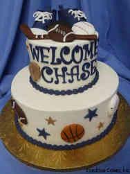Boys 25 Sports Star Baby Shower Cake