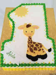Neutral 12 Giraffe First Birthday Cake