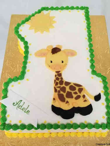 Neutral 12 Giraffe First Birthday Cake