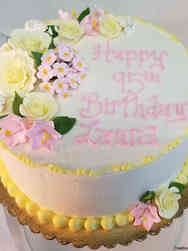 Floral 11 Pink and Yellow Birthday Cake