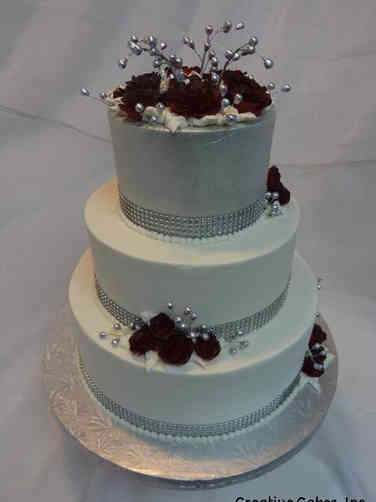 Floral 36 Red and Silver Roses Wedding Cake
