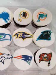 Adult 27 Football Teams Birthday Cupcakes