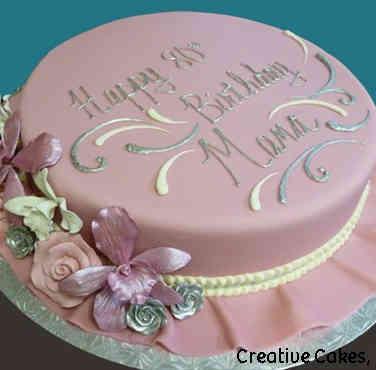 Floral 27 Ruffled Pink Fondant Birthday Cake